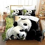 Fundas Nórdica Amor Panda 3D Ropa De Cama Microfibra Comoda 1 Funda nórdica de 200x220cm y 2 Funda Almohada de 50x75cm