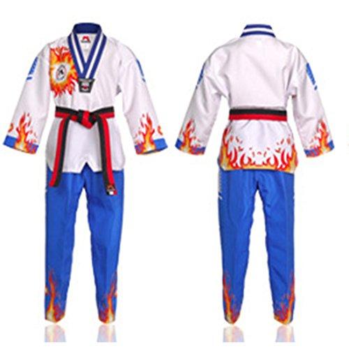 Mudoin Uniforme de Fuego de Llama de Taekwondo para Adultos. Artes Marciales akido Hapkido poom School para Hombre 180 (170-180cm) (5.57-5.90ft) Azul (1 poom)