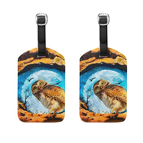 COOSUN Art Work Owl Luggage Tags Travel Labels Tag Name Card Holder for Baggage Suitcase Bag Backpacks, 2 PCS