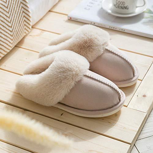 Zapatillas de Deporte Hombre Mujer Antideslizante,Zapatillas de algodón cálidas de invierno para mujer de piel sintética gruesa, zapatillas de interior para el hogar para hombre beige, EU 41-42