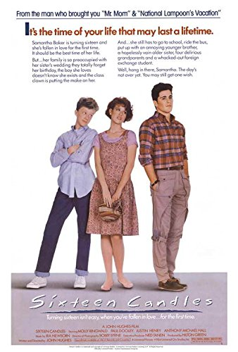 Blueline Sixteen Candles Movie Poster 27 x 40 Molly Ringwald, Justin Henry, A, Made in The U.S.A.
