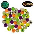 "QINGQIU 48 PCS Halloween Glow in The Dark Bouncy Balls 1.25"" Bouncing Balls Halloween Toys for Kids Girls Boys Halloween Party Favors Halloween Treat Bags Gifts"