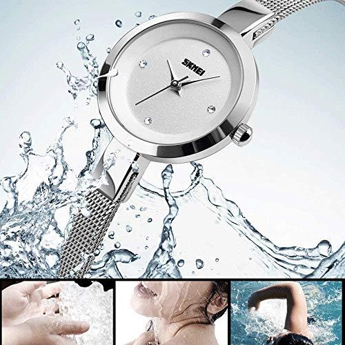 TYX-SS Reloj de Moda para Mujer Cinturón de Acero Fino de Malla Relojes de Pulsera de Cuarzo de Oro Rosa Relojes de Pulsera creativos y bellamente Decorados para Mujer-Plata