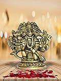 999Store Messing-Idols sitzende Bleeshing Panchmukhi Hanuman Ji Statue, Heimdekoration, Mandir-Tempel, Geschenk, indische Kunst (Messing, 6,3 x 6,3 x 2,5 cm, 0,170 kg) Brass069