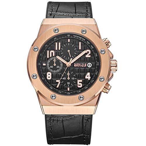 BAOGELA Armbanduhr Herren Uhren Schwarz Leder Armband Black Zifferblatt Rose Gold Große Gehäuse Militär mit Chronograph Kalender Wasserdicht und Leuchtend XL