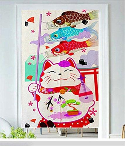 Icegrey linnen gordijn Japanse noren panelen kinderen slaapkamer deur gordijn met trekstang, 80 x 150 cm Maneki Neko en karpers vlag