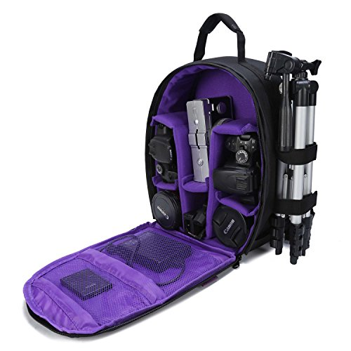 G-raphy Camera Bag Camera Backpack with Rain Cover for DSLR Cameras , Lens, Tripod and Accessories (Purple, Small)