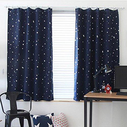 ToDIDAF Blickdicht Gardinen Vorhang, Sternenhimmel Vorhang Tüll Fenster Behandlung Drapieren Volant, 1 Paneelstoff für Wohnzimmer Schlafzimmer Kinderzimmer Babyzimmer Deko 100 cm x 130 cm (Blau)