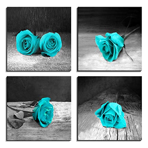 LKY ART Canvas Wall Art for Living Room Rose Painting Teal Black and White