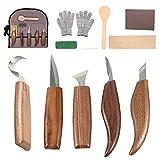 Maalr Set di Strumenti per Intaglio del Legno, Coltello da Intaglio in Legno per Affilare e la Lavorazione del Legno, per Intagliare Cucchiai Ciotole Tazze e Altri Mestieri, Wood Carving Tools