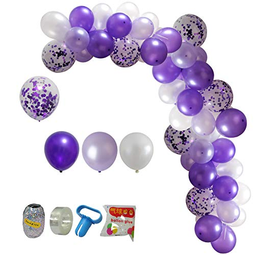 Purple Balloon Garland Arch kit -114 Pcs Lavender Purple White Purple Confetti Balloons for Wedding Birthday Party Anniversary Baby Shower Party Supplies Decorations