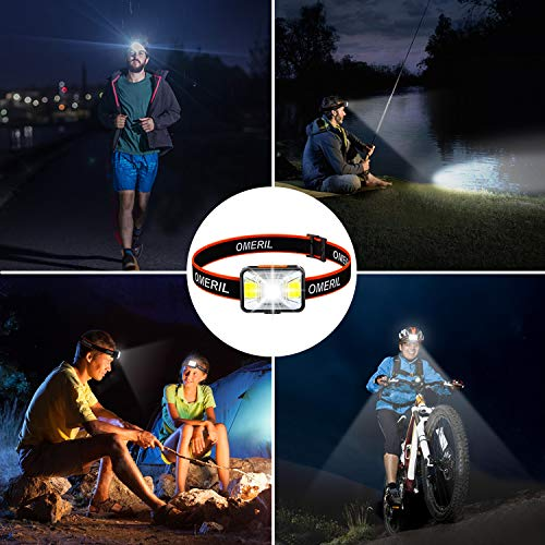 OMERIL LED Head Torch, USB Rechargeable Headlamp with Super Bright 200 Lumens,5 Lighting Modes,White&Red Light,IPX5 Waterproof Headlight for Kids Adults,Running,Dog Walking,Cycling,Camping,Fishing