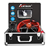 Sewer Camera, Pipe Inspection Camera with Distance Counter Plumbing Snake Camera DVR Recorder Waterproof IP68, Anysun 100ft / 30M Industrial Pipeline Drain Endoscope with 7' LCD Color Monitor