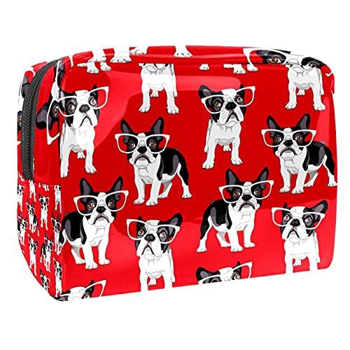 Cosmetici Borsa Bulldog francese cane Beauty Case da Viaggio Borsa da Viaggio Impermeabile Borsa per Cosmetici Toiletry Bag 18.5x7.5x13cm