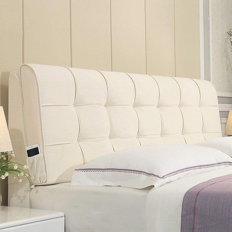 カプラー急行する同様の31-luoshangqing ダブルベッドサイドクッションパッド布アートソフトケースベッドサイドラージバッククッション、適切なベッドヘッドボードなし、4色、8サイズベッドバックレストパッド (Color : 白, サイズ : 160cm)