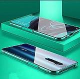 SPAK Oppo Reno2 Hülle,Magnetische Adsorption 360 Grad Schutzhülle Vorder & Rückseite aus Gehärtetem Glas [Support Wireless Charge] Cover für Oppo Reno2 (Grün)