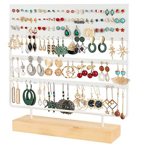 QILICZ Présentoir à bijoux avec 144 trous pour boucles d'oreilles et bijoux - 30 x 30 cm Blanc.