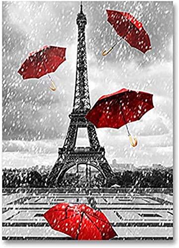DFGJ Rompecabezas 1000 Piezas para Adultos, Adolescentes, Blanco y Negro, Torre, Paraguas Rojo, Paris Street, Rompecabezas de Madera para Adultos (75 * 50 cm)