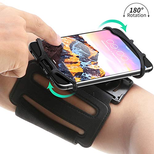 Mumba Running Armband for iPhone X/iPhone 8 Plus/ 8/7 Plus/ 6 Plus/ 6, Galaxy S9/ S9 Plus/ S7 Edge, Note 9, Google Pixel, 180° Rotatable Phone Armband for Hiking Biking Walking