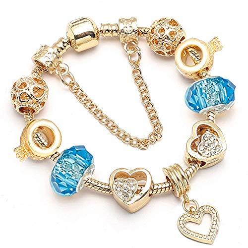 MZFRXZ Damesarmband, goudkleurig, glasparels, bedelarmband voor vrouwen, kristal, origineel merkarmband, mode doe-het-zelf sieraden