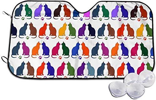 DAWN&ROSE Parasol para parabrisas de coche, diseño de huellas de gatos, tamaño universal, plegable, bloquea los rayos UV para mantener tu vehículo fresco y libre de daños (51 x 27.5 pulgadas)