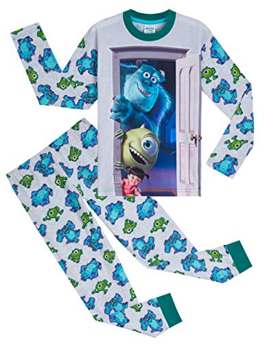 Disney Monsters Inc Jungen Schlafanzug, 2-teilig, weiche Baumwolle, Kinder-Pyjama mit Figuren Sully, Boo und Mike, Geschenke für Jungen und Jugendliche, Alter 2–14 Jahre Gr. 9-10 Jahre, grau