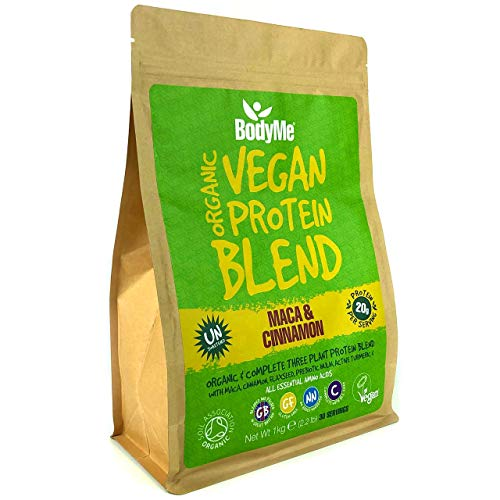BodyMe Organic Vegan Protein Powder Blend | Maca Cinnamon | 1kg | UNSWEETENED | Low Carb | with 3 Plant Based Vegan Protein Powders | 20g Complete Protein | Gluten Free | All Essential Amino Acids