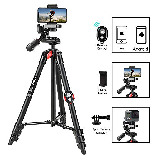 Phone Tripod, ZOMEi 54 Inch Cellphone Tripod Lightweight Portable Travel Tripod with...