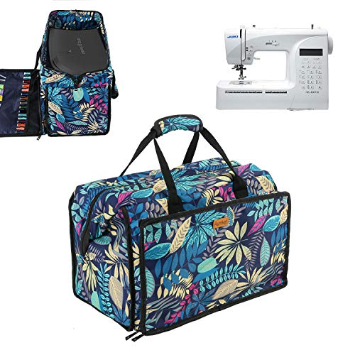 Sewing Machine Carrying Case Tote Bag,Universal Nylon Carry Bag, Universal Padded Storage Cover Carrying Case with Pockets and Handles (Floral)