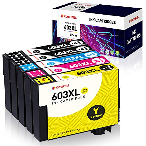 Clywenss 603XL Cartuchos de Tinta Compatibles con Epson 603 XL para impresoras Epson Expression Home XP-3100 XP-4100 XP-2100 XP-2105 XP-3105 XP-4105, Workforce WF-2810 WF-2830 WF-2850, Confezione da 5