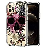 MOSNOVO iPhone 12 Pro Case, iPhone 12 Case, Floral Skull Flower Pattern Clear Design Transparent Plastic Hard Back Case with TPU Bumper Case Cover for iPhone 12 Pro/iPhone 12 6.1 Inch