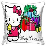 ChenZhuang Fundas de almohada de 45,7 x 45,7 cm con diseño de dos lados impreso, fundas de almohada de Navidad para sofá de Hello Kitty.
