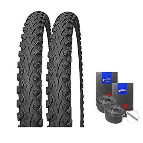 Impac Set: 2 x Tourpac schwarz 24x2.00/50-507 Fahrrad MTB Reifen + Schwalbe Schläuche Autoventil