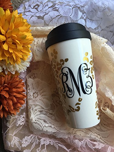 Leopard Print Monogram 16oz Travel Mug - Cheetah Print - Customizable Animal Print Mug - Choose Your Colors - Girly Mug - Bridal Party Present - For Her