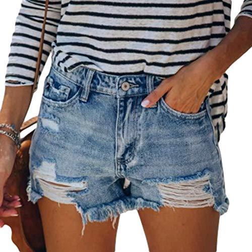 Pantalones Cortos de Mezclilla para Mujer Pantalones Cortos de Mezclilla Rectos Lavados Todo-fósforo Agujeros Rotos Personalidad de Verano XL