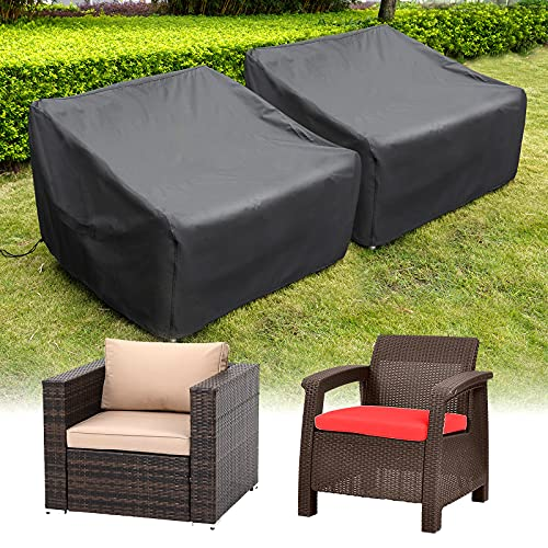 """HIRALIY Patio Chair Covers, 2 Pack Waterproof Outdoor Lounge Deep Seat Furniture Cover, Heavy Duty Single Wicker Garden Sofa Chair Cover 35"""" Lx 35"""" Wx 27.5"""" H ( 90x90x70cm )"""