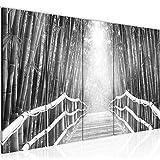 032455c - Cuadro de pared (200 x 80 cm, fieltro), diseño de puente en el bosque
