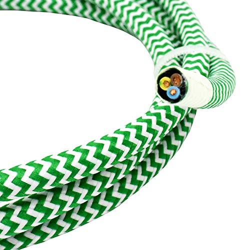 3m Textilkabel Grün Weiss Zickzack 3G 0,75mm² Stoffkabel für Hänge- u. Pendelleuchten Stromkabel mit Stoff Lampenkabel