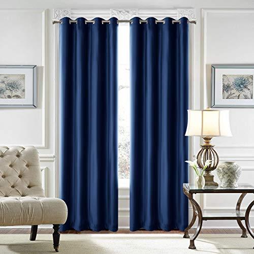 "LoyoLady Dark Blue Velvet Curtains 102 inches Long 2 Panels Set Grommet Bedroom Darkening Window Curtains & Drapes 52"" W x 102"" L"