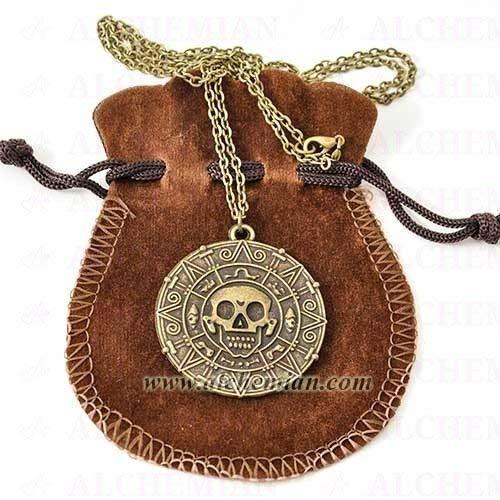 Collana Moneta Azteca Cortès, Pirati dei Caraibi, Maledizione Prima Luna, tono bronzo antico