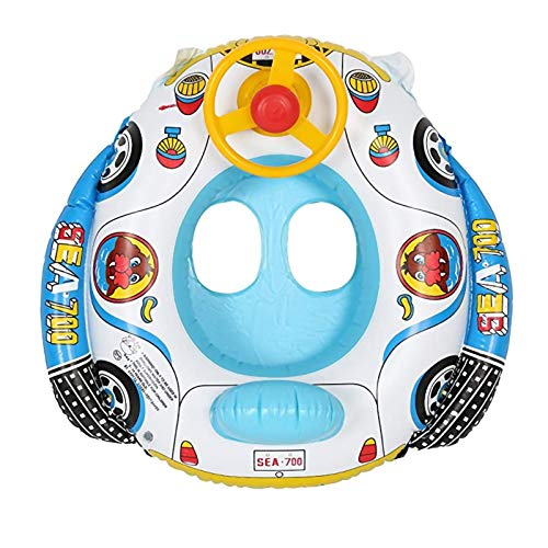 Homeriy Flotador de piscina de bebé inflable anillo de natación con cuerno de volante para niños menores de 5 años