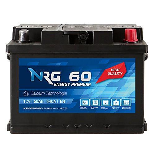 NRG Premium Autobatterie 12V 60Ah ersetzt 53AH 55AH 56AH 61AH 62AH Batterie