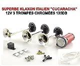 CUCARACHA Tour DE France ! Superbe KLAXON Italien 3 TROMPES 12V Serie Limitee Chrome 135DB ! Le Mythique KLAXON Italien des Annees 60 en Serie Speciale CHROMEE !