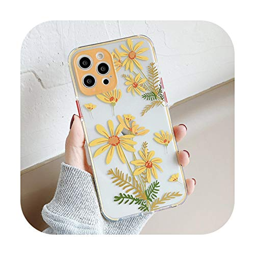 Transparente transparente flor fruta caso para el iPhone 12 Pro Max XR X XS 7 8 Plus iPhone 11 Pro Max SE 2020 TPU cubierta capa teléfono Case-ju hua-para iPhone X XS