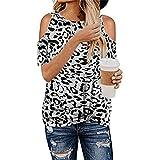 T-Shirt Donna A Manica Corta Donna Sexy Senza Spalline con Stampa Leopardata Donna Top Estivo Comodo Casual Moda Sciolto Chic Kink Camicetta Donna B-Grey XXL