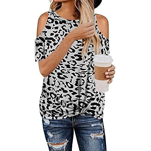Camisetas Mujer Sexy Sin Tirantes Patrón De Leopardo Cuello Redondo Manga Corta Verano Playa Vacaciones Ocio Moda Suelta Cómoda Nuevas Mujer Tops Mujer Camisa B-Grey M