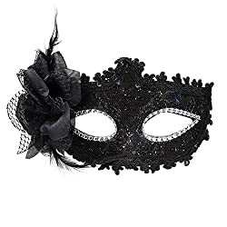 Black Masquerade Party mask Venetian of Realistic Silicone