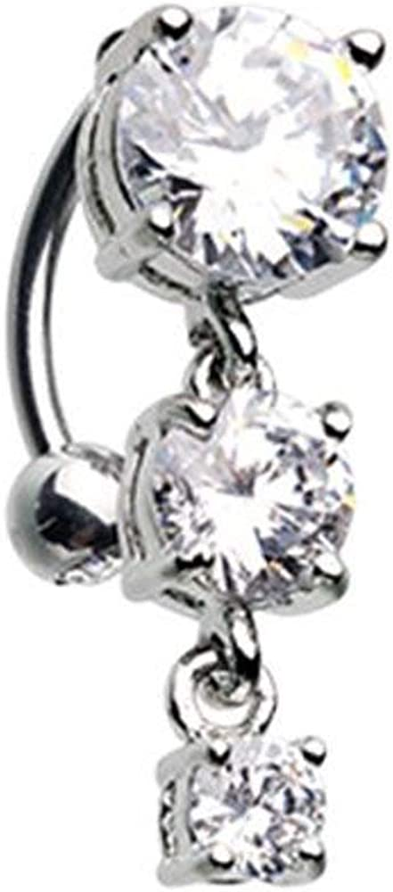 Covet Jewelry Brilliant Cascading Reverse Drop Top Belly Button Ring