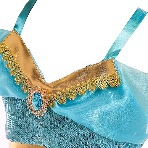 Cozyhoma - Disfraz de Jasmine, traje de princesa árabe con lentejuelas para niñas, disfraz para Halloween