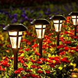GIGALUMI 6 Pcs Solar Lights Outdoor, Bronze Finshed, Glass Lamp, Waterproof Led Solar Lights for Lawn, Patio, Yard, Garden, Pathway, Walkway and Driveway